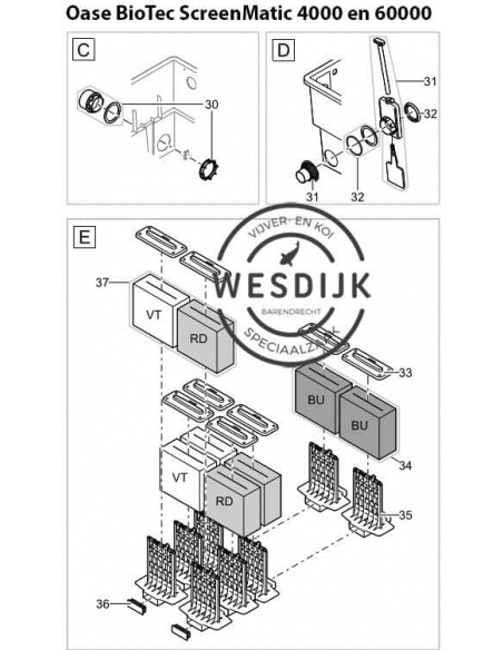 Oase vervangmousse rood/paars doos à 2 stuks BioTec screenmatic 60 en 140000