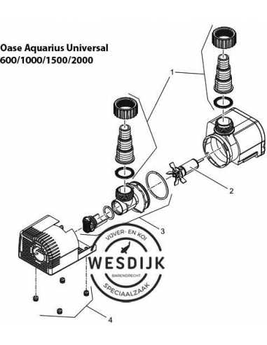 Filterkap + Gummivoet Aquarius Universeel 600