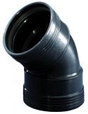 Manchet zwart bocht 45º - 75 mm